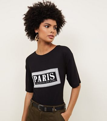 Black Dropped Sleeve Paris Box Print T-Shirt