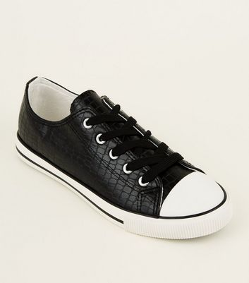 Black Faux Croc Lace-Up Low Top Trainers