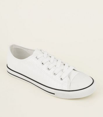 White Faux Croc Lace-Up Low Top Trainers