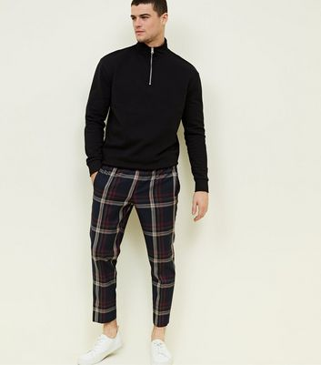Blue Check Print Trousers