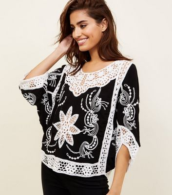 Cameo Rose Black Contrast Crochet Boat Neck Top
