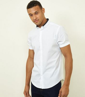 White Contrast Collar Button Down Shirt