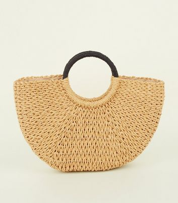 Stone Plain Straw Basket Bag