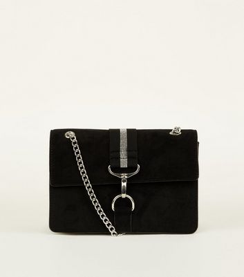 Black Stripe Tape Chain Strap Bag by New Look