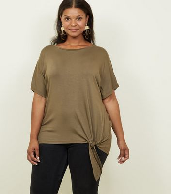 Curves Olive Green Tie Side T-Shirt