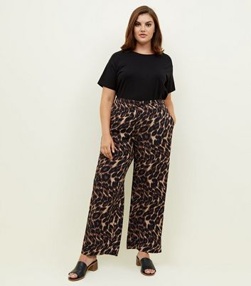Curves Brown Leopard Print Wide Leg Trousers