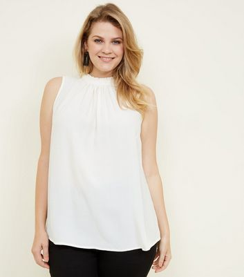 Curves White Frill Neck Sleeveless Top