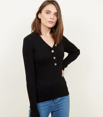 Black Ribbed Button Front Jumper