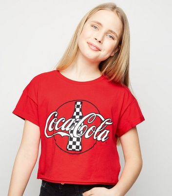Girls Red Coca-Cola Slogan T-Shirt