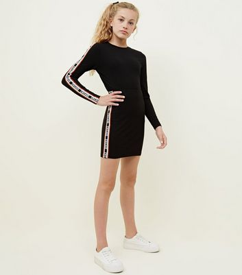 Teens Black Chicago Side Stripe Tube Skirt