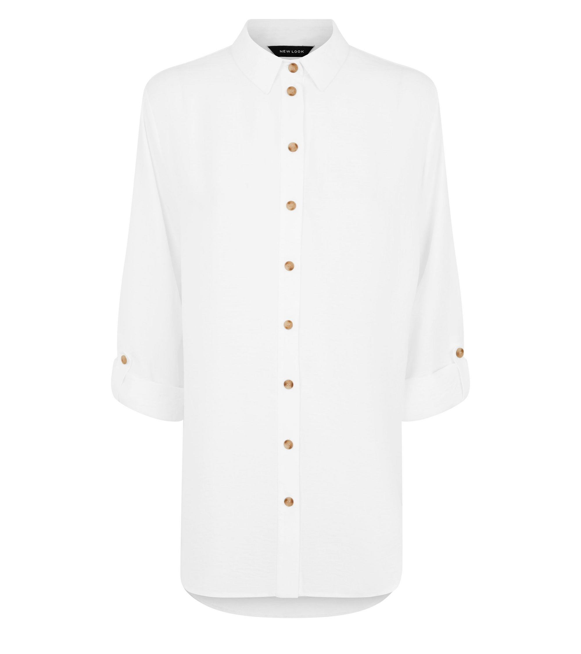 3a2067d2 New Look Off White Linen-Look Longline Shirt at £22.99 | love the brands
