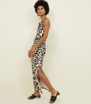 Brown Animal Print Keyhole Front Maxi Dress