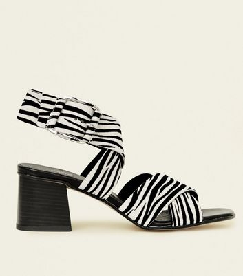 Black Premium Suede Faux Zebra Strappy Sandals