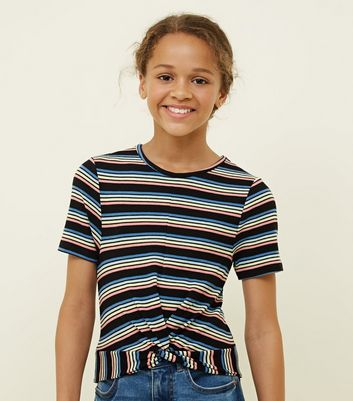 Girls Rainbow Stripe Twist Front T-Shirt