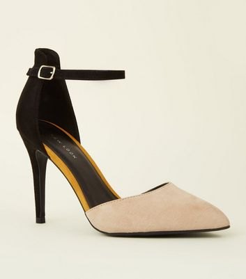 Black Colour Block Two Part Stiletto Courts by New Look