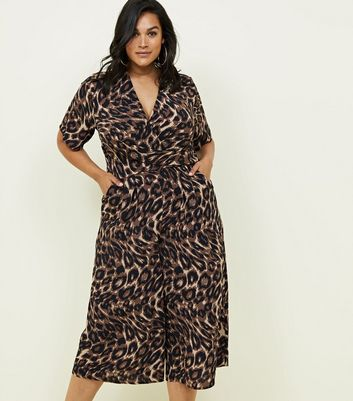 Curves Brown Leopard Print Wrap Front Jumpsuit