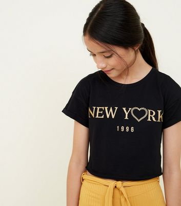 Girls Black New York Metallic Slogan T-Shirt