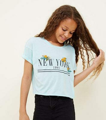 Girls Mint Green Floral New York Slogan T-Shirt