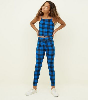 Girls Blue Check Leggings