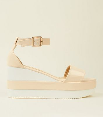 Nude Contrast Platform Wedge Sandals