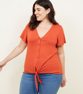 Curves Rust Button Tie Front T-Shirt