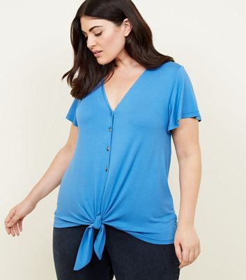 Curves Bright Blue Button Tie Front T-Shirt