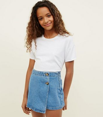 Girls Wrap Front Denim Skort