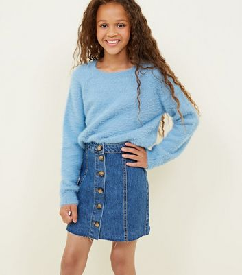 Girls Blue Button Front Denim Skirt