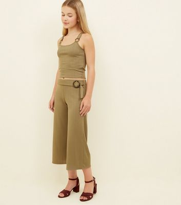 Teens Khaki Ribbed Faux Horn Buckle Culottes