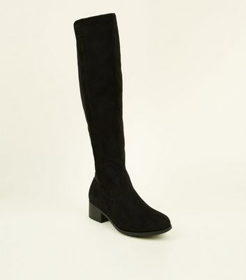 Girls Black Knee High Boots by New Look