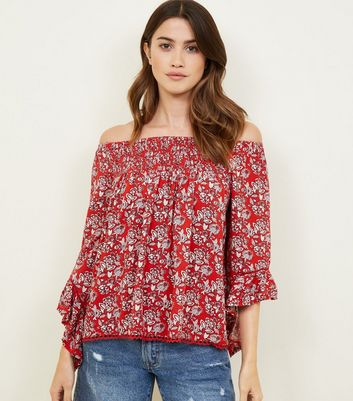 Apricot Red Floral Bardot Smock Top