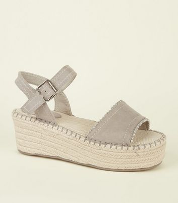 Grey Suedette Two Part Flatform Espadrilles