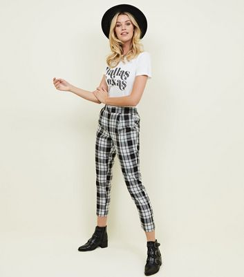 Monochrome Check Shirred Back Tapered Trousers