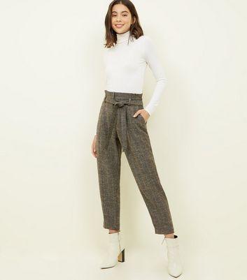 Black Herringbone Paperbag Tie Waist Trousers by New Look