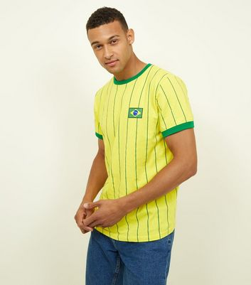 Yellow Stripe Brazil Football T-Shirt