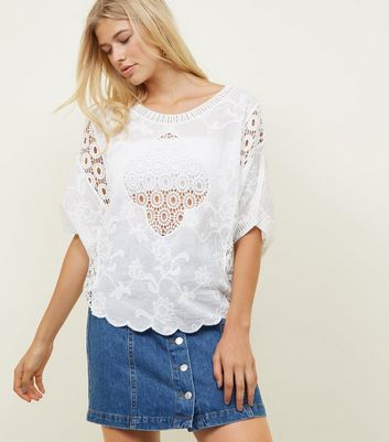 White Scalloped Hem Crochet Top