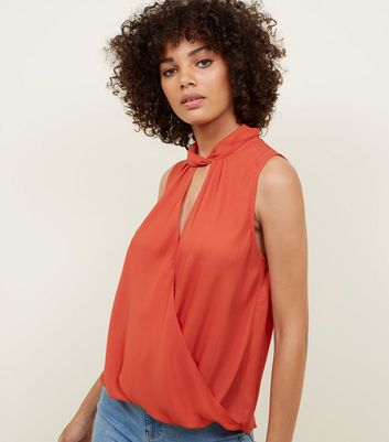 Orange Twist Choker Neck Wrap Top
