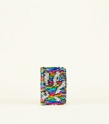 Rainbow 2 Way Sequin Passport Holder by New Look