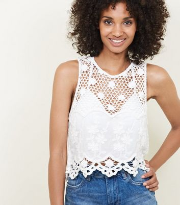 White Crochet Trim Scallop Hem Top