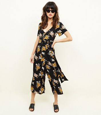 Cameo Rose Black Floral Button Front Culotte Jumpsuit