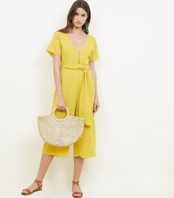 Cameo Rose Mustard Button Front Culotte Jumpsuit