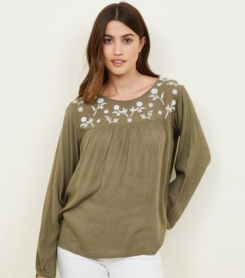 Apricot Green Embroidered Babydoll Top