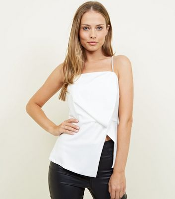 White Asymmetric Diamanté Strap Party Top