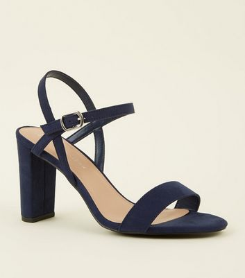 Wide Fit Navy Suedette Two Part Block Heels by New Look