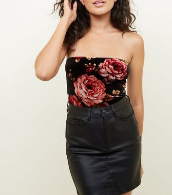 Black Floral Velvet Strapless Party Bodysuit