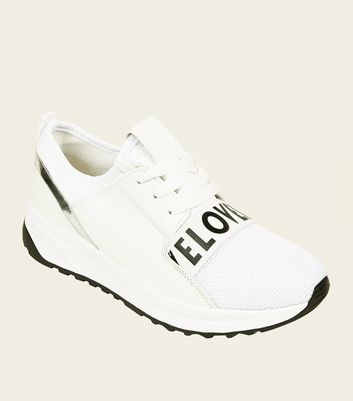 White Perforated Love Slogan Chunky Trainers by New Look