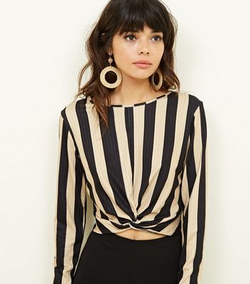 Black Stripe Twist Front Long Sleeve Top