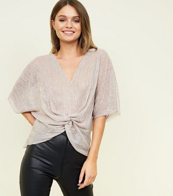 Pink Glitter Twist Front Party Top
