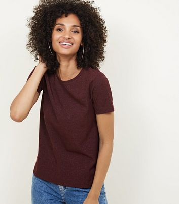 Burgundy Metallic Ribbed Boxy T-Shirt