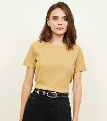 Mustard Metallic Ribbed Boxy T-Shirt